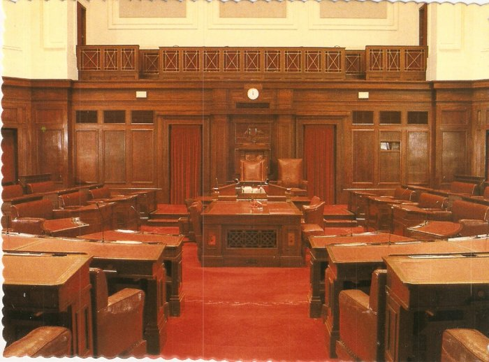 Senate Chamber Parliament House Canberra Australia Robert Schorn postcard