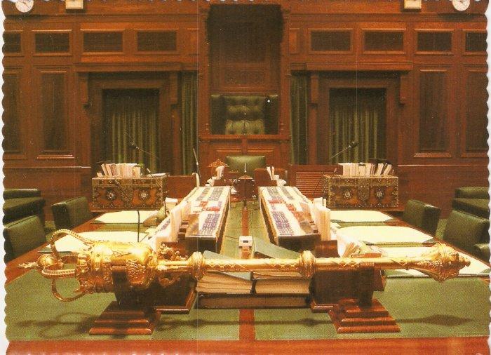 The Mace, Representatives Chamber Parliament House Canberra Australia Robert Schorn postcard