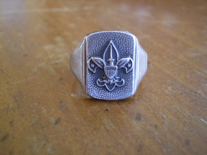 Vintage Sterling Silver Fleur De Lis Eagle Ring Adjustable