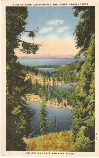 Four Angora Lakes Fallen Leaf Tahoe Nevada vintage postcard