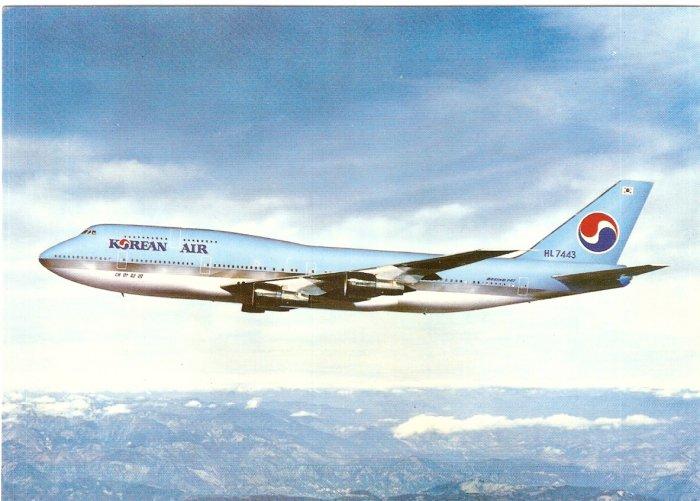 Korean Air Airlines Boeing 747 vintage postcard