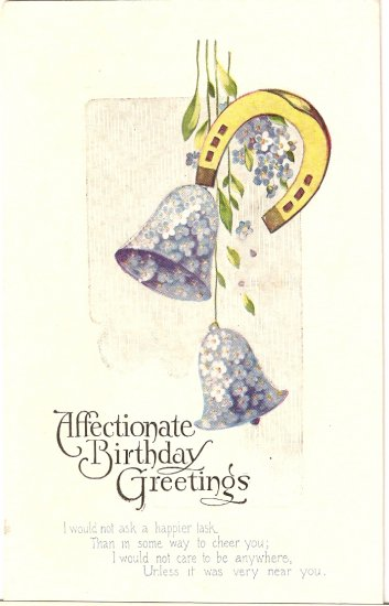 Birthday Greetings vintage postcard Blue Bells Flower Horseshoe