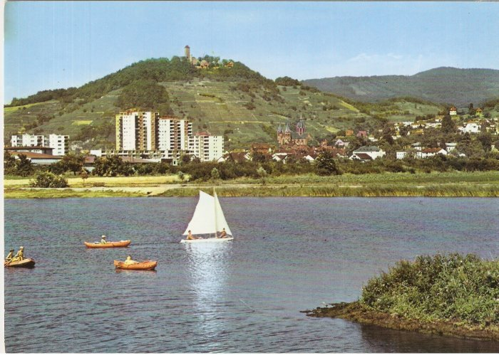 Heppenheim Staatl Germany lake sailboat boat postcard