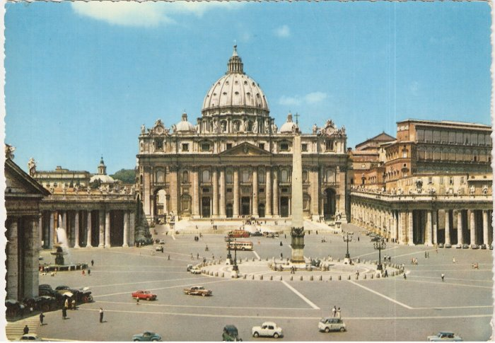 Vatican Italy vintage postcard St Peter's Square Basilica