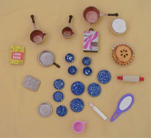 Lot doll miniature food utensils metal plastic pie pots