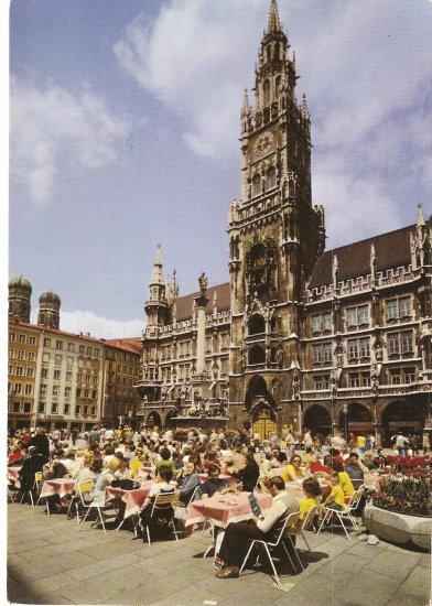 Munich Marienplatz with City Hall Germany vintage postcard