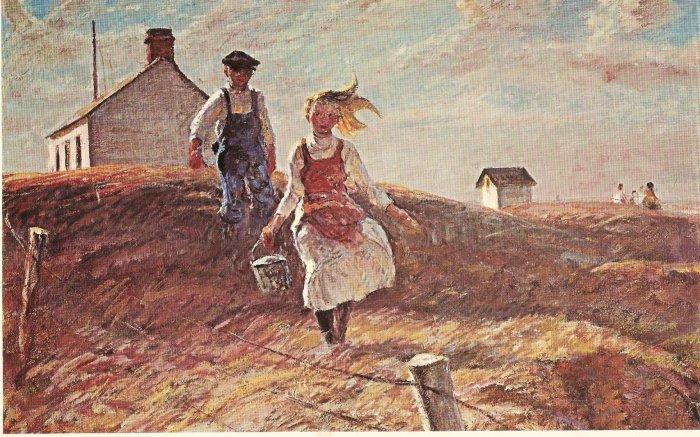 After School Harvey Dunn Prairie scene vintage postcard