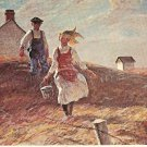 After School Harvey Dunn Prairie scene vintage postcard