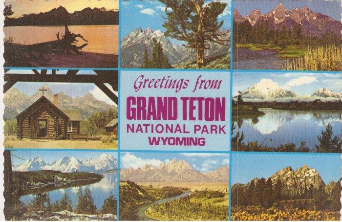 Grand Teton National Park Wyoming vintage postcard