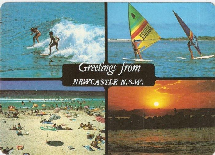 Newcastle NSW Australia surfing board riding fishing vintage postcard