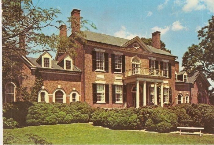 Woodlawn Plantation East Facade VA Virginia vintage postcard