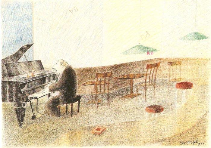 Sempe Musician V pianist piano L Dabritz  vintage postcard