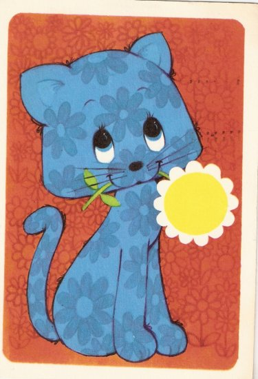 Hallmark 1971 blue cat  vintage postcard