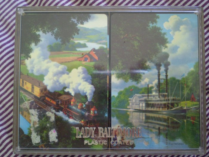 Lady Baltimore Plastic Coated Playing Cards Paul Detlefsen Iron Horse Old River Days
