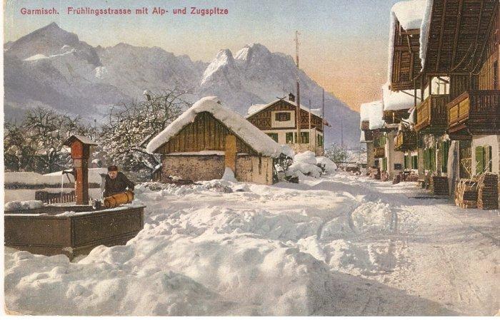 Garmisch Fruhlingsstrasse mit Alp und Zugspitze Germany vintage postcard
