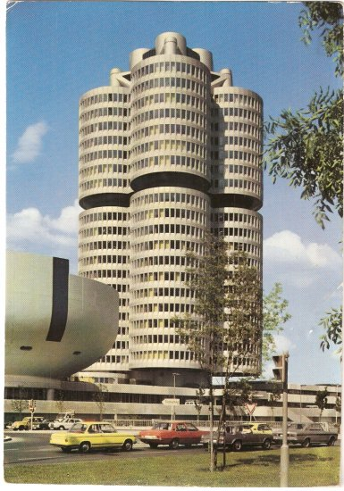 BMW Administration Building Munich 2002tii Germany vintage postcard