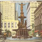 Tyler-Davidson Fountain Cincinnati Ohio OH vintage postcard