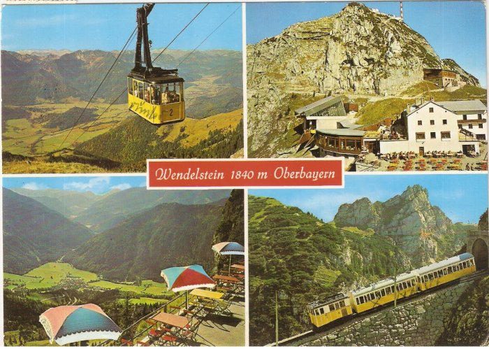 Wendelstein Oberbayern tram train Germany vintage postcard