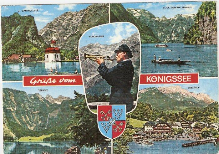 Konigssee St Bartholoma Obersee Seelande Germany vintage postcard