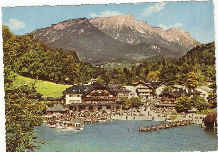 Konigssee Seelande Germany mountains resort vintage postcard