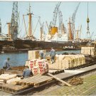 Amsterdam Holland Netherlands Harbor Harbour Pier vintage postcard