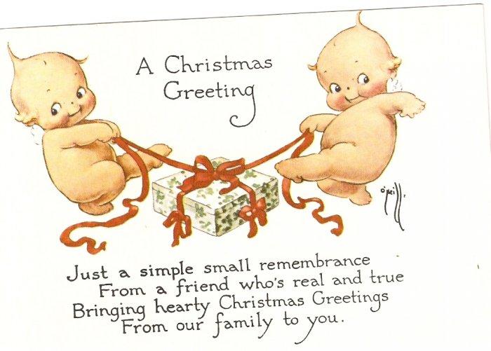 Christmas Greeting Rose O'Neill Kewpie 1976 The Ashers postcard