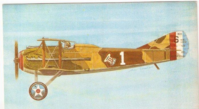 Spad 13 French WWI fighter plane Boom Restaurant San Diego postcard