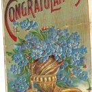 Heartiest Congratulations 1912 Heymann vintage blue flowers postcard