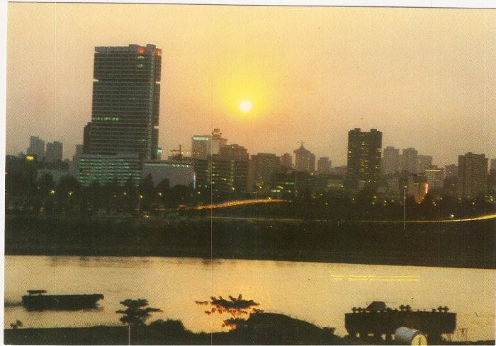 Sunset Singapore City skyline postcard