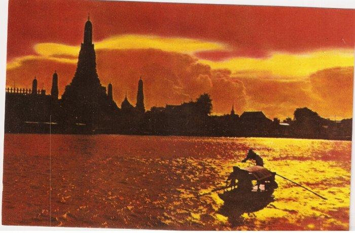 Wat Aroon Temple of Dawn Bangkok Thailand Sunset vintage postcard