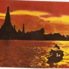 Wat Aroon Temple of Dawn Bangkok Thailand Sunset vintage postcard