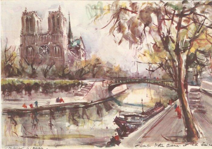 Marius Girard Paris Notre Dame et la Seine painting vintage postcard