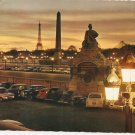 Crepuscule Place de la Concorde Paris France vintage postcard