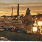 Crepuscule Place de la Concorde Paris France vintage postcard