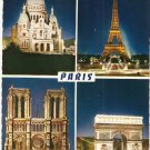 Sacre Coeur Eiffel Tower Notre Dame L'Arc de Triomphe Paris France vintage postcard