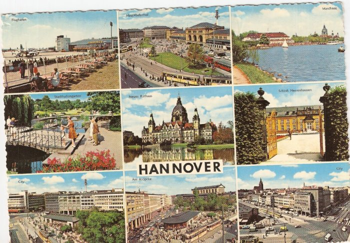 Hannover Germany 9 scenes 1966 vintage postcard