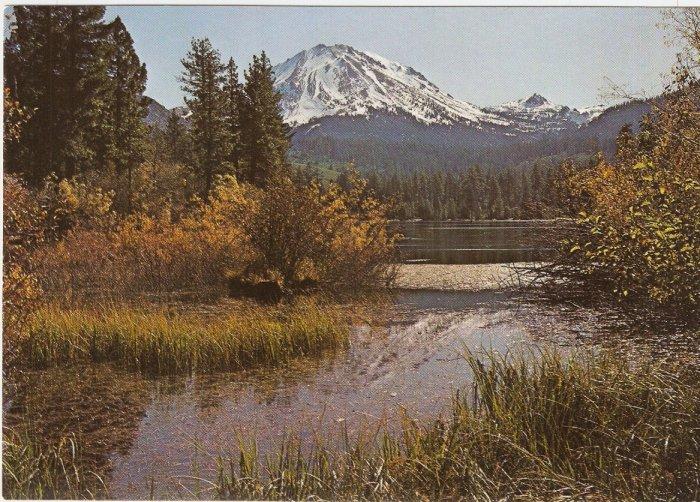 Lassen Peak Manzanita Lake Volcanic National Park California vintage postcard