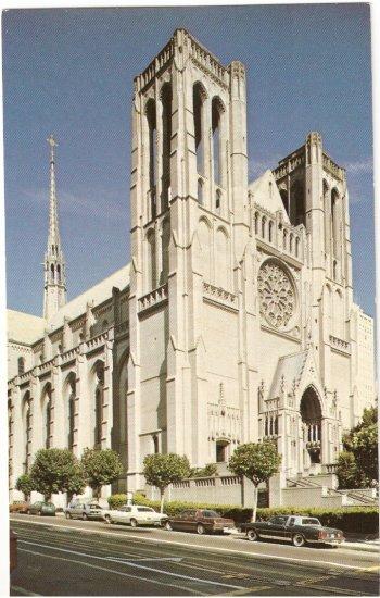 Grace Cathedral San Francisco CA Taylor St vintage postcard