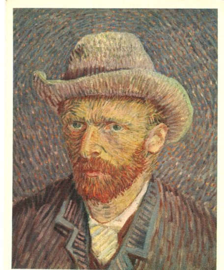 Vincent Van Gogh portrait with mol hat vintage postcard