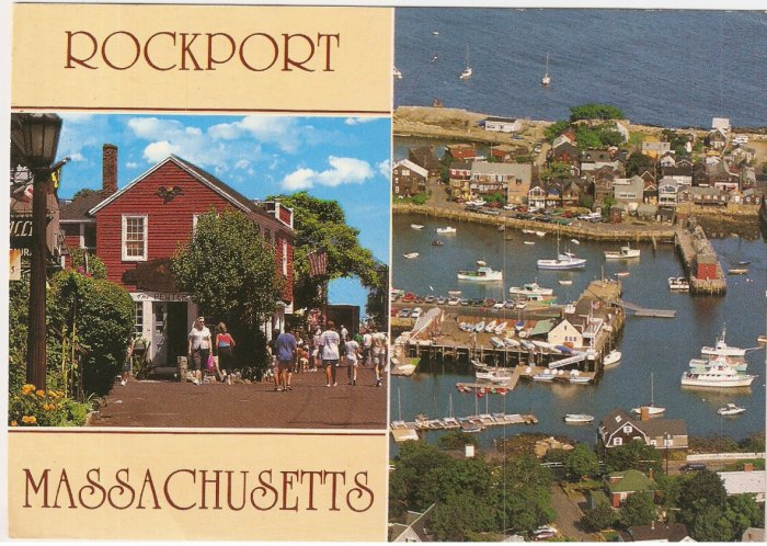 Rockport Massachusetts BEarskin Neck harbor vintage postcard
