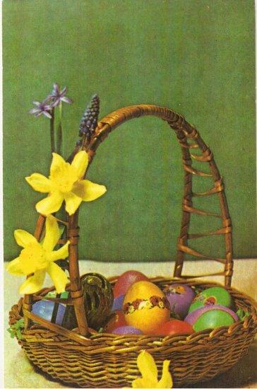 Easter Basket Eggs Hungarian? postcard 1983