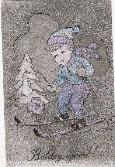 Boldog Ujevet Skiiing Boy Winter Hungarian? Vintage postcard