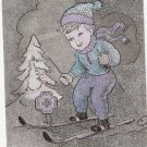 Boldog Ujevet Skiiing Boy Winter Hungarian? Vintage postcard
