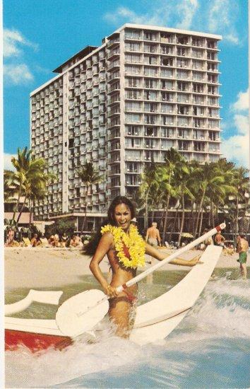 Outrigger Hotel beach Waikiki Honolulu Hawaii postcard