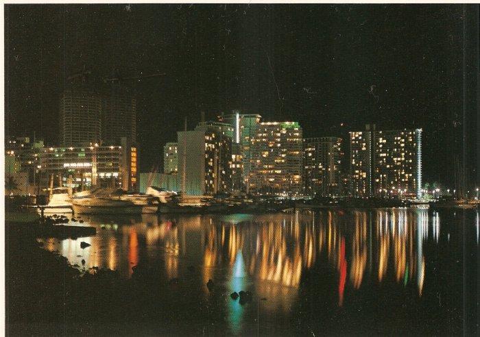 Skyline Night Harbor John Wagner Honolulu Hawaii postcard