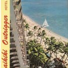 Waikiki Outrigger Hotel sailboat Honolulu beach Hawaii vintage postcard