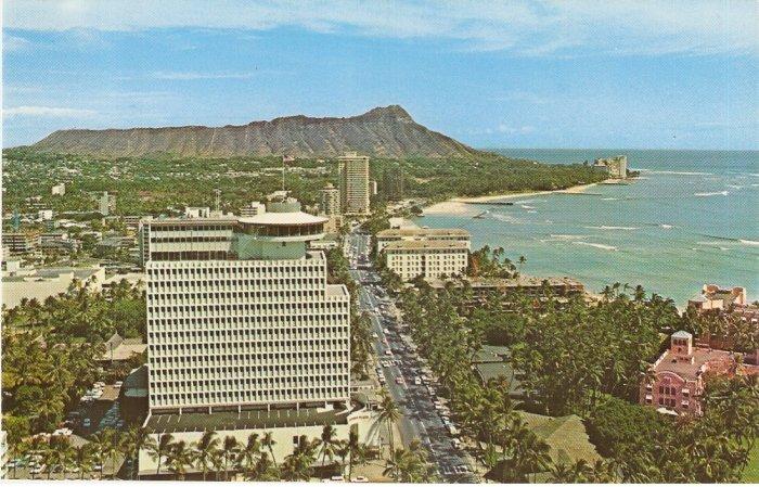 Top of Waikiki Diamond Head Business Plaza Hawaii vintage postcard