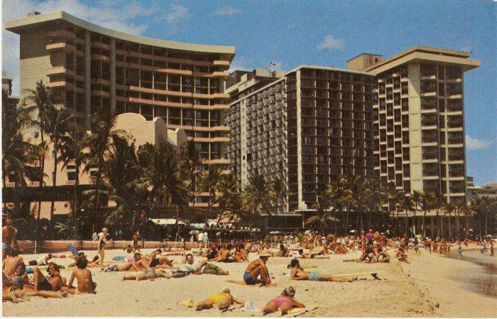 Sunbathers Waikiki Beach Hawaii Royal Hawaiian Outrigger Surfrider Hotel Vintage Postcard