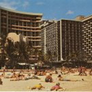 Sunbathers Waikiki Beach Hawaii Royal Hawaiian Outrigger Surfrider Hotel vintage postcard