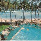 Waikiki Beach Outrigger Hotels Honolulu Hawaii vintage postcard